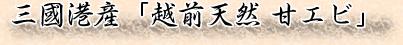 三國港産「越前天然 甘エビ」