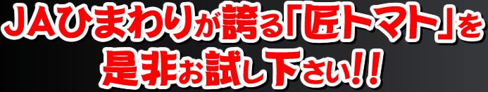 JAひまわりが誇る「匠トマト」を是非お試し下さい!!