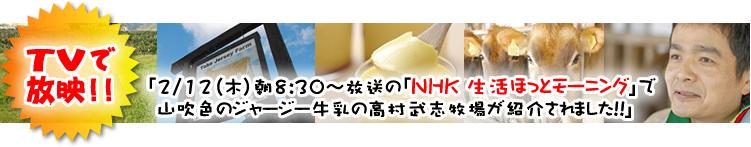 「2/12(木)朝8:30〜放送の「NHK 生活ほっとモーニング」で山吹色のジャージー牛乳の高村武志牧場が紹介されました!!」